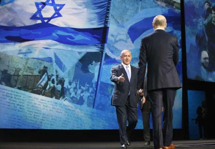 Le premier ministre israélien, Benyamin Nétanyahou, à la conférence annuelle de l'American Israel Politic Affairs Committee (Aipac), lundi.