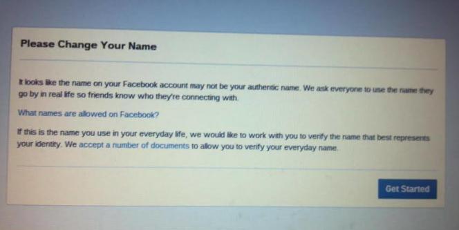 Message envoyé par Facebook demandant de changer de nom.