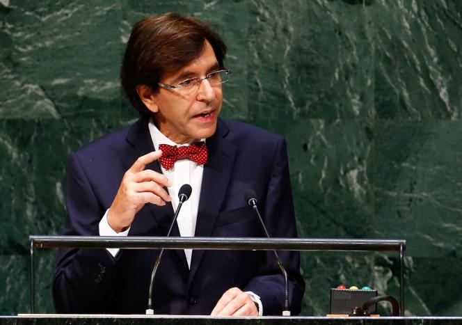 Elio Di Rupo, alors le premier ministre belge, lors d'un discours devant l'Assemblée générale des Nations unies, à New York, en septembre 2014.