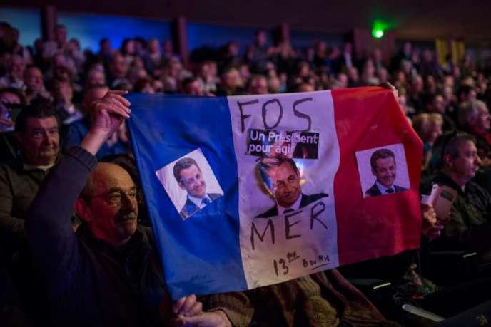 Lors du meeting de Nicolas Sarkozy à Marseille jeudi 5 mars.