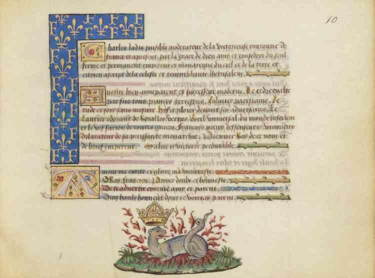 Cette image représente une salamandre couronnée et semée de lys : l'emblématique royale envahit le manuscrit annonçant (par la voix du feu roi Charles VIII) que François Ier sera bientôt empereur, ce qui ne se réalisa pas car le roi de France échoua devant Charles Quint.