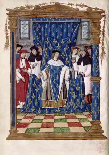 Durant tout le règne de François Ier, la représentation du pouvoir royal est encore largement dominée par la tradition médiévale : le roi est toujours montré entouré de ses conseillers, car il n'est pas censé décider seul.