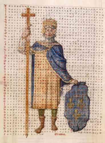Le projet de croisade du début du règne réactive pour François Ier des figurations médiévales de défenseur de la Croix. Cette représentation s'inspire directement de celle de l'empereur carolingien Louis le Pieux dans le « De Laudibus Sanctae Crucis », de Raban Maur.