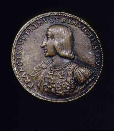 Cette médaille commémorative a été frappée juste après la victoire de Marignan, diffusant le profil du jeune roi victorieux vêtu « à l'antique » comme un empereur romain.