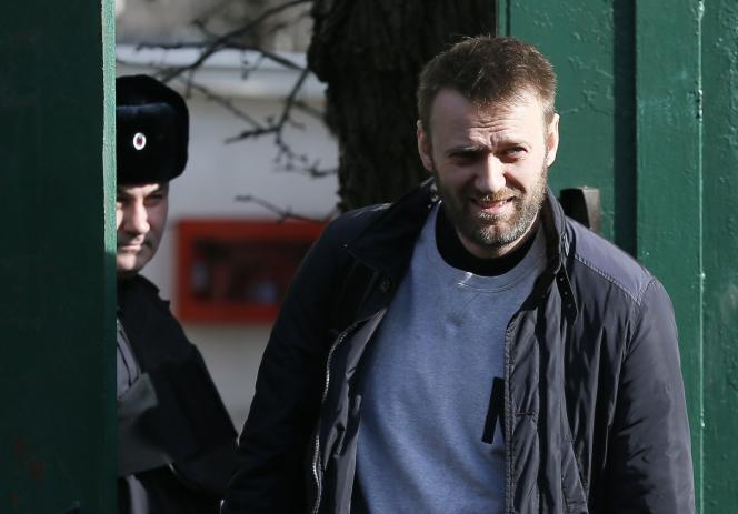 Alexeï Navalny, le 6 mars, lors de sa libération.