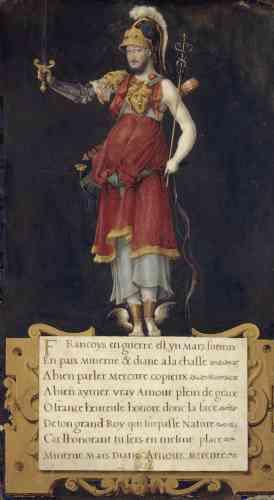 François Ier est représenté ici selon un portrait allégorique réunissant les attributs de cinq dieux et déesses de l'Antiquité – Mars, Minerve, Diane, Mercure et Amour – dont l'identité est explicitée dans le texte du cartouche.