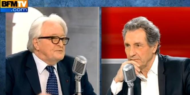 Roland Dumas et Jean-Jacques Bourdin sur le plateau de BFMTV le 16 février.