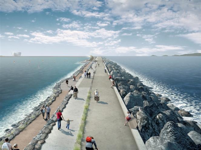 Vue d'artiste du projet de barrage de 22 km entre le Pays de Galles et l'Angleterre.