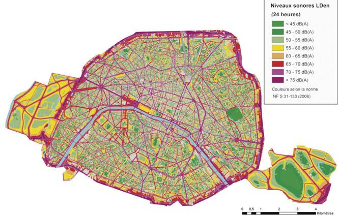 La cartographie des nuisances sonores à Paris.