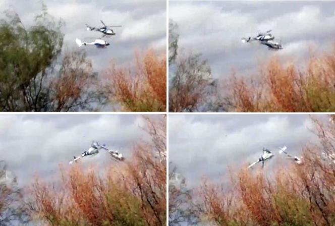 La collision des deux  hélicoptères, lundi 9 mars, près de Villa Castelli,  en  Argentine, filmée par un témoin.