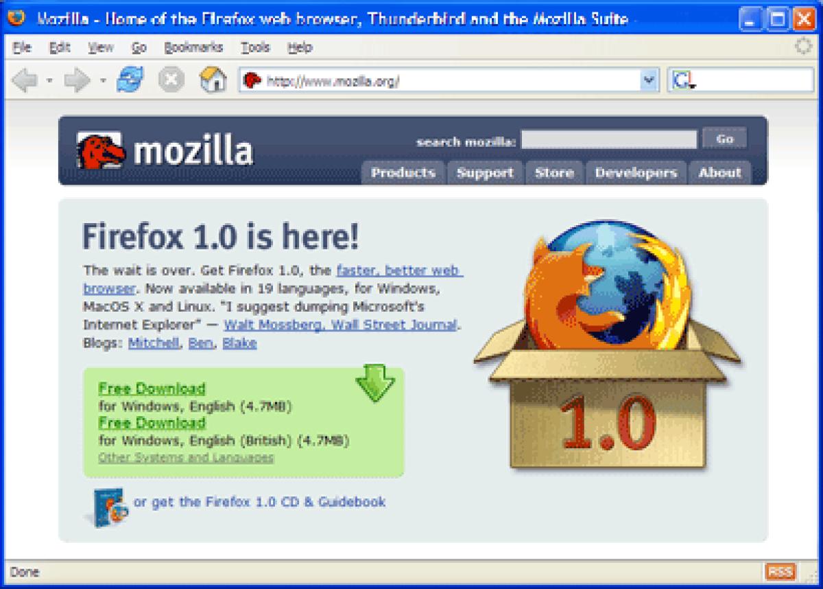 Le site de Firefox 1.0, dans Firefox 1.0.