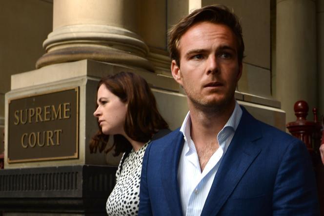 Le pilote de F1 Giedo Van der Garde, à la sortie du tribunal de la Cour suprême de Melbourne (Australie), mercredi 11 mars.