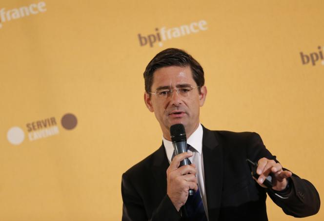Nicolas Dufourcq, le directeur de Bpifrance, lors de la présentation des résultats 2014 de son institution, en mars 2015.