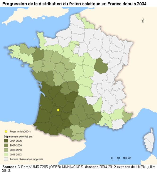 Progression de la distribution du frelon asiatique en France depuis 2004.