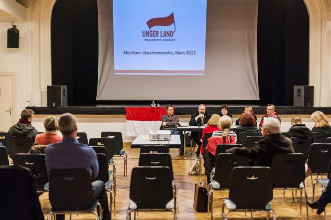 Réunion publique, élections départementales, Unser Land, partie indépendantiste alsacien. Salle du Cercle, Bischheim, 11 mars 25