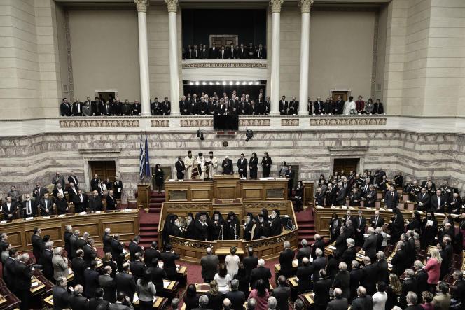 Le Parlement grec, le 13 mars.