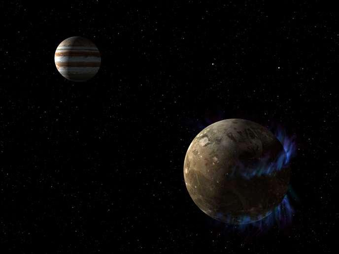 Vue d'artiste de Ganymède en orbite autour de Jupiter.
