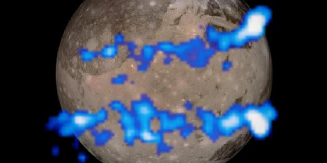 Représentation des aurores boréales de Ganymède.