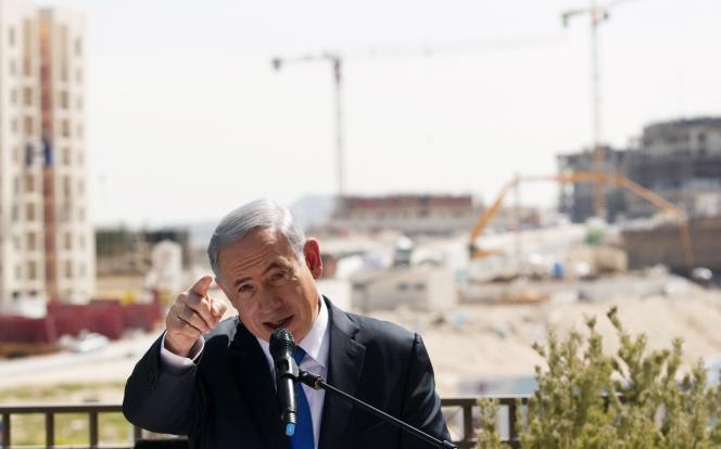 Benyamin Nétanyahou, le 16 mars à Har Homa, un quartier au sud-est de Jérusalem.