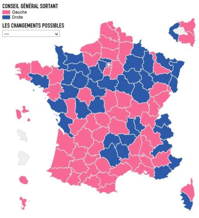 La carte des élections départementales.