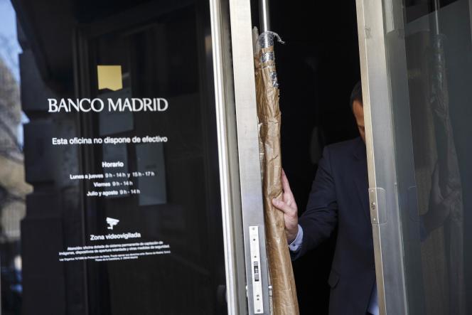 Une agence de Banco De Madrid, filiale de la Banque privée d'Abdorre, à Madrid, le 16 mars.