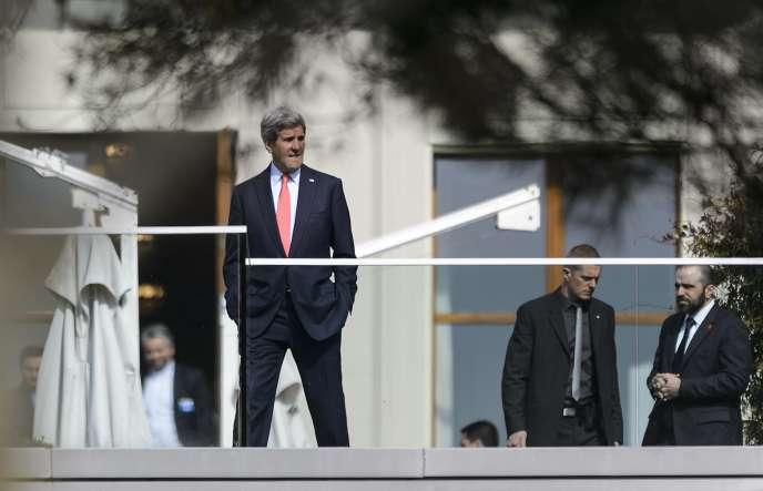 Le secrétaire d'Etat américain, John Kerry, à Lausanne, le lundi 16 mars.