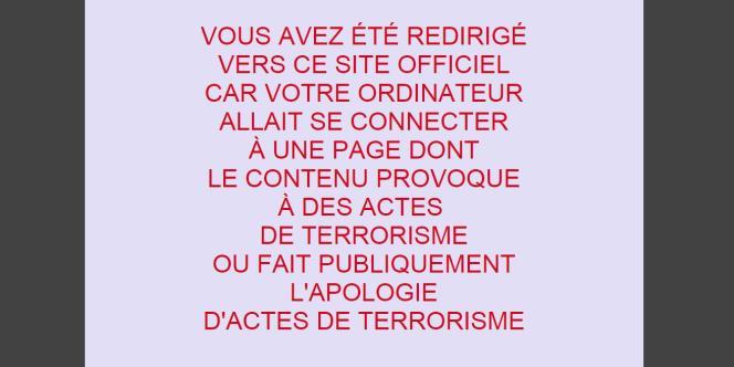 Message du blocage administratif des sites djihadistes.