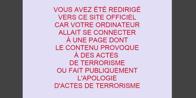 Message du blocage administratif des sites djihadistes.