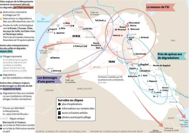 La carte des sites archéologiques en péril en Mésopotamie, sous la menace de l'Etat islamique et des conflits successifs en Irak et en Syrie.