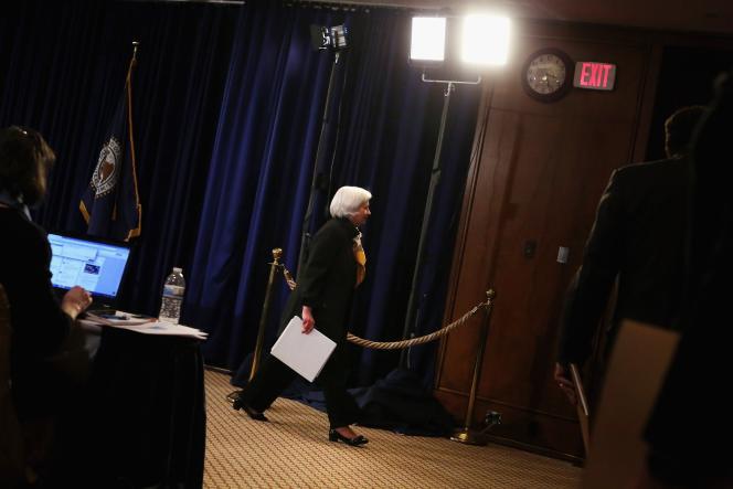 La présidente de la Fed, Janet Yellen, au quartier général de la banque centrale américaine à Washington, le 18 mars.