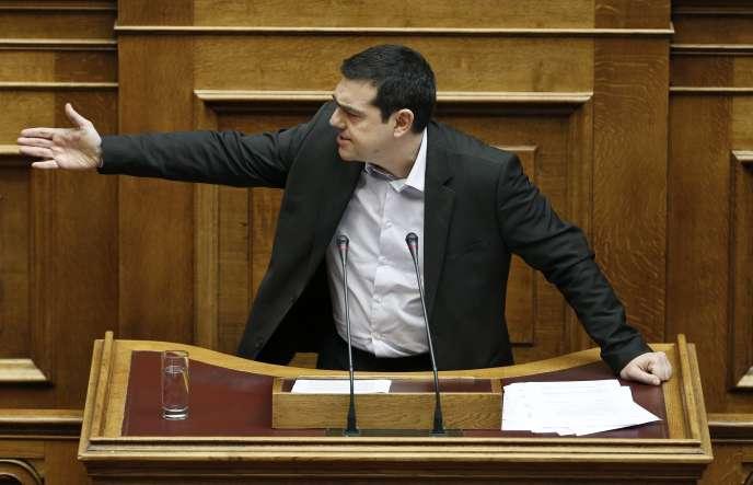Le premier ministre grec, Alexis Tsipras, au Parlement, à Athènes, le 18 mars 2015.