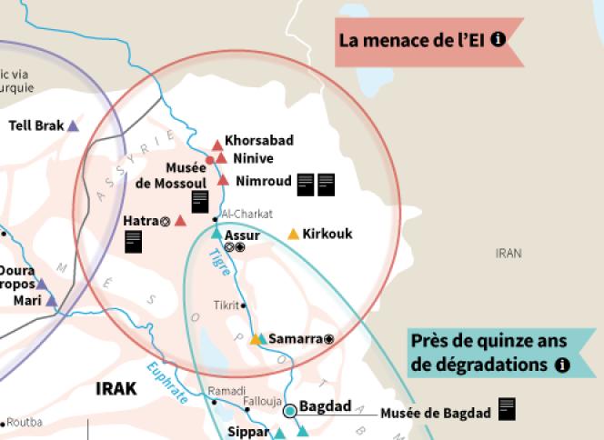 Carte des sites archéologiques menacés en Irak et en Syrie.