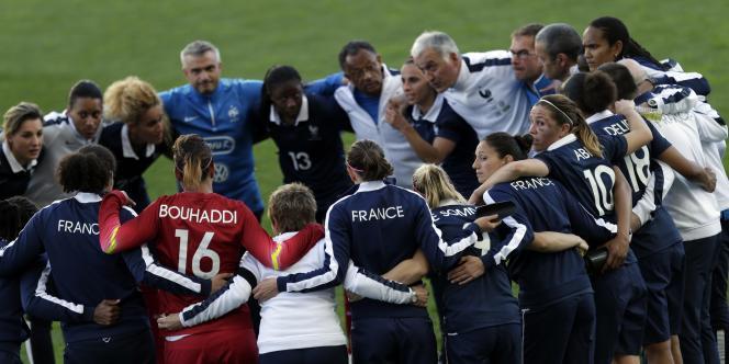 L'équipe de France féminine de football lors la dernière Algarve Cup en mars 2015.