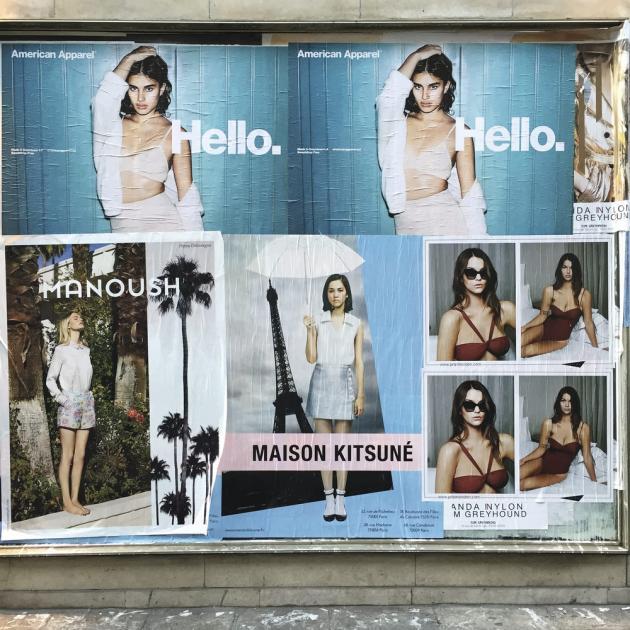 Parmi les marques à avoir orchestré des campagnes  d'affichage sauvage durant  la Fasion Week parisienne,  la maison Kitsuné. Photo:             Julien Neuville