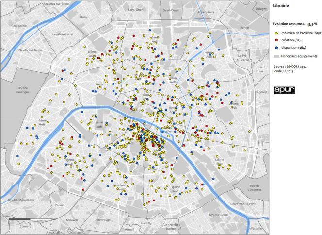 Répartition et évolution des librairies parisiennes entre 2011 et 2014