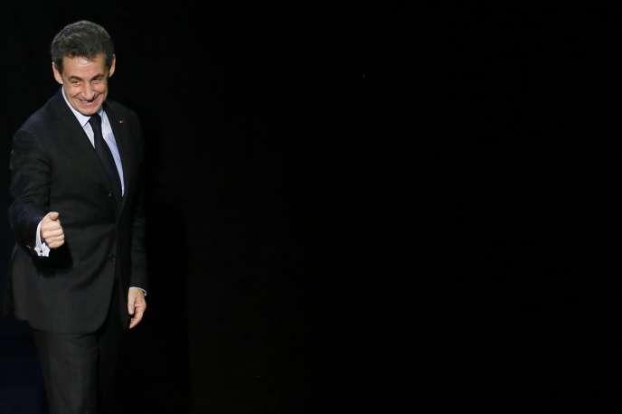 Nicolas Sarkozy à Palaiseau (Essonne), le 16 mars.