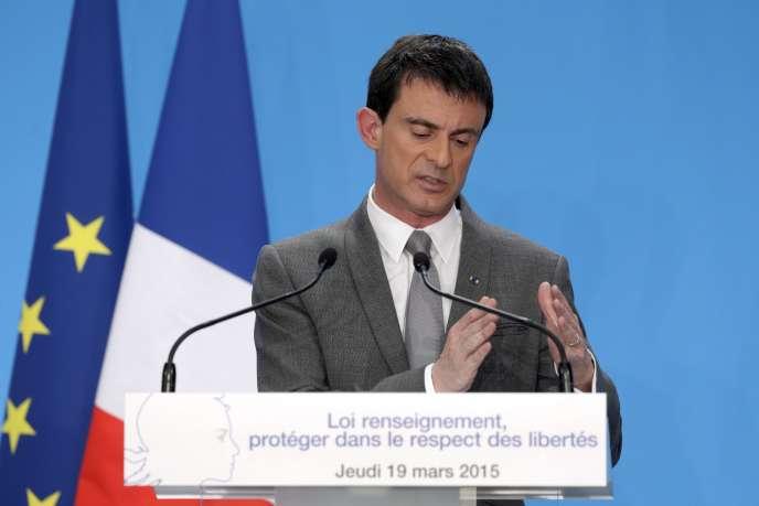 Manuel Valls, lors d'une conférence de presse, le 19mars.