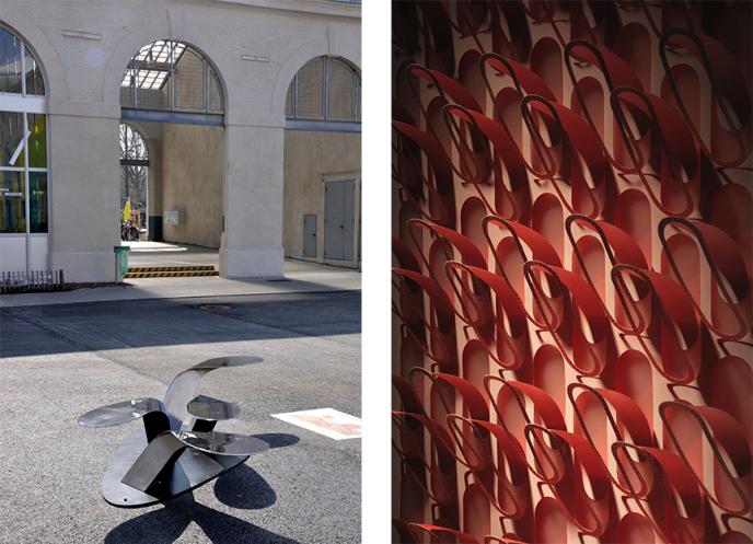 A gauche : la cité du design, dans l'ancienne Manufacture d'Armes de Saint-Etienne, accueille à elle seule une dizaine d'expositions. Pour le repos du visiteur, les étudiants ont dessiné des prototypes de bancs sinueux ou colorés, réalisés en collaboration avec la Tôlerie Forézienne, située dans la région, à Bonson. A droite : une tapisserie sculptée en relief, projet d'un étudiant en école de design. Tous les objets représentés dans l'exposition « L'essence du beau », pilotée par Sam Baron, 38 ans, ont été créés entre 2012 et 2015 par une génération qui pourrait incarner les processus créatifs de demain.