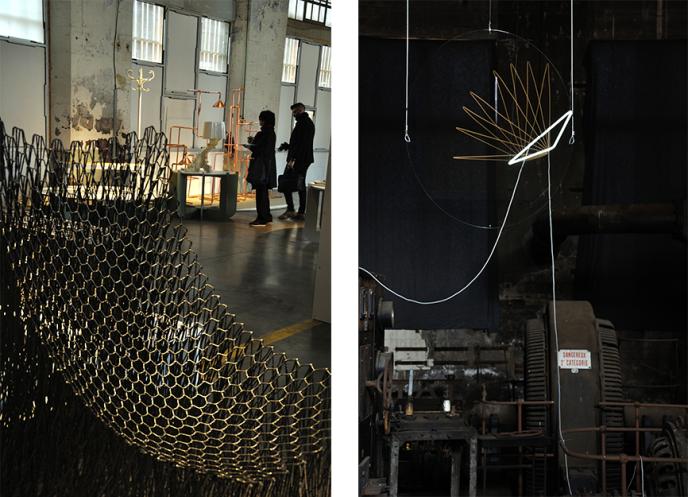 A droite, la salle de l'atelier des compresseurs, au Musée de la Mine. Les designers Glithero façonnent des structures aux allures de cages qui, en jouant sur l'interaction entre des surfaces vitrées et la lumière, semblent vouloir prendre des sources lumineuses dans leur filet. A gauche, le fauteuil Luno par Il Hoon Roh, à mi-chemin entre mobilier et œuvre d'art, a été créé à l'aide de cordes en fibre de carbone tissées à la main. Cet objet témoigne du nouvel élan de l'artisanat coréen, Séoul étant invité d'honneur de la 9e Biennale du design.