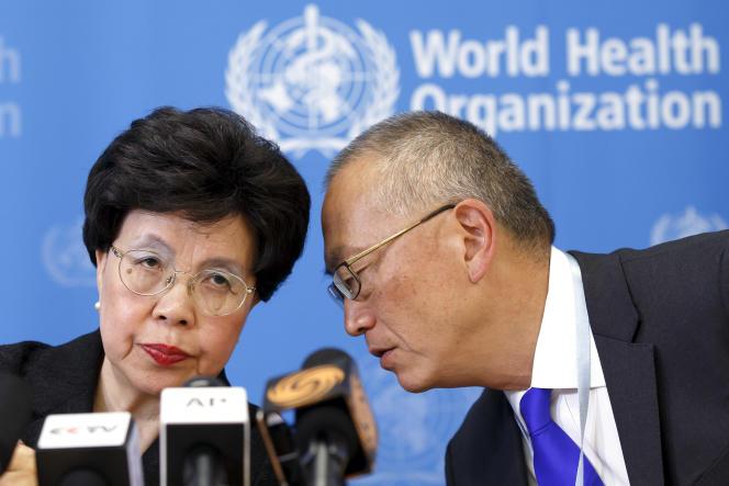 La directrice générale de l'OMS, Margaret Chan, et le sous-directeur général chargé de la sécurité sanitaire à l'OMS, Keiji Fukuda, le 8 août 2014  à Genève.