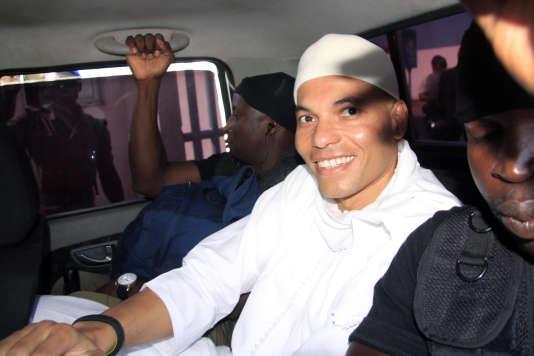 Karim Wade à Dakar, lors de l'ouverture de son procès, en juillet 2014.