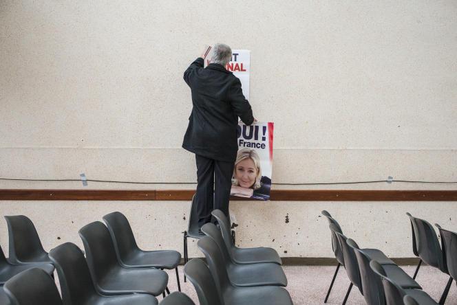 A Saint-Quentin (Aisne), le 5mars, avant un discours de Marine Le Pen adressé aux candidats FN pour les départementales.