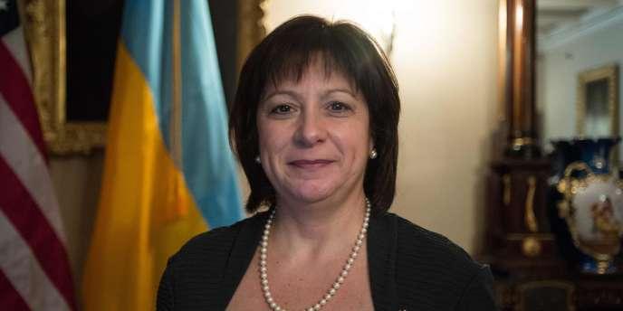 La ministre des finances ukrainiennes, Natalie Jaresko, lors d'une visite au département du Trésor américain, à Washington, le 16 mars.