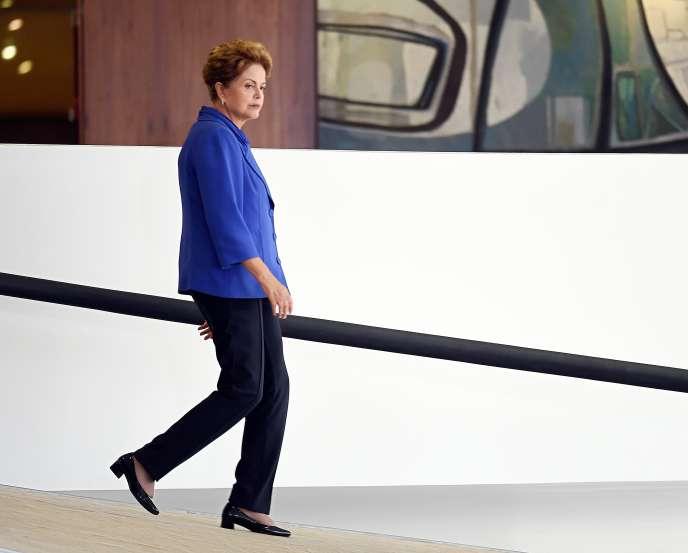 Dilma Rousseff, au palais présidentiel du Planalto, à Brasilia, mercredi 18mars.
