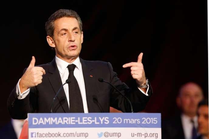 L'ancien président Nicolas Sarkozy, lors de son meeting à Dammarie-les-Lys, en Seine-et-Marne, le 20 mars.
