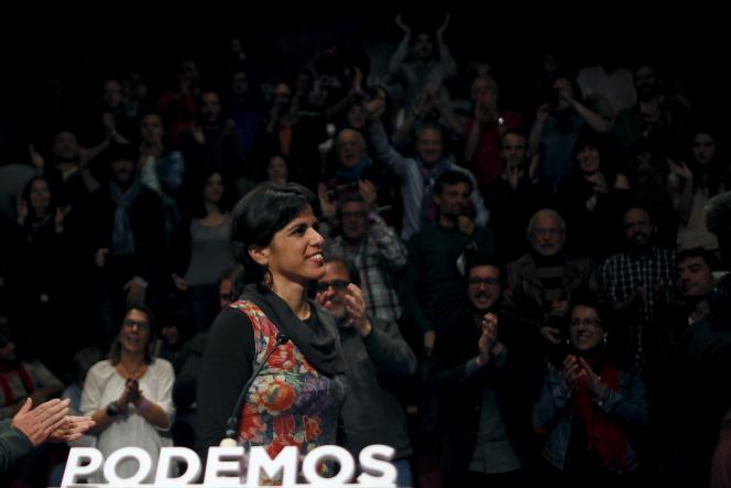Teresa Rodriguez, qui dirigeait la liste de Podemos aux élections régionales en Andalousie, le soir du scrutin, dimanche 22 mars, à Séville.