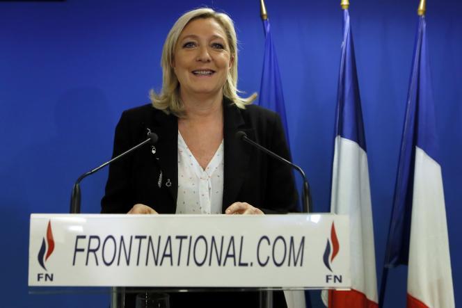 La présidente du Front national, Marine Le Pen, a salué les résultats des candidats du parti d'extrême droite, à l'issue du premier tour des élections départementales, le dimanche 22 mars.