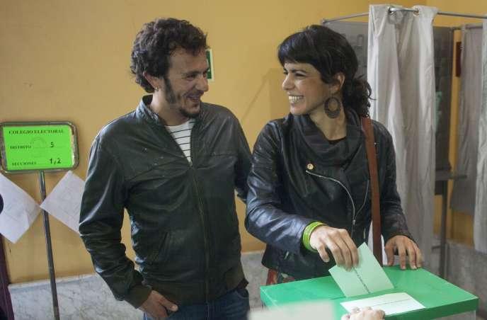 Teresa Rodriguez, candidate de Podemos à l'élection régionale d'Andalousie, en Espagne, le 22mars.