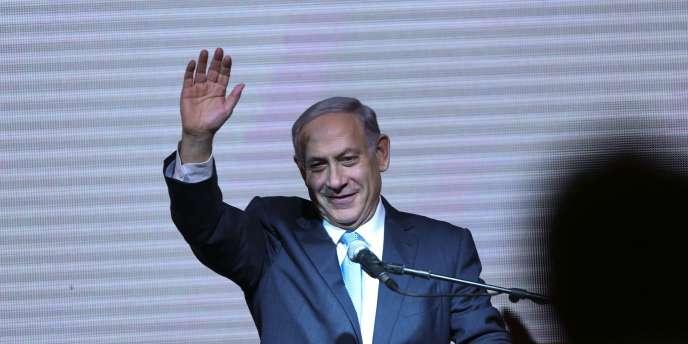 Le chef de file du Likoud et actuel premier ministre israélien, Benyamin Nétanyahou, au lendemain de la victoire de sa liste aux législatives, le 18 mars.