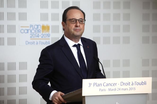 Discours de François Hollande au siège de la Ligue contre le cancer, mardi 24 mars à Paris.